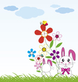 Rabbit holds flowers vector image vector image