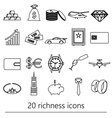 richness and money theme black outline icons set vector image vector image