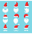 santa claus hat and beard christmas traditional vector image vector image