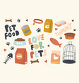 set icons pets food theme packages vector image