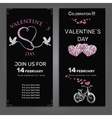 set invitation for Valentines day on chalk board vector image vector image