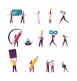 set male and female characters shaking hands vector image vector image