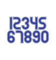 set numbers with blue and white typography vector image vector image