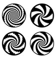 set of design monochrome spiral movement vector image