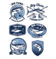 set tuna fishing badge design vector image vector image