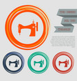 sewing machine icon on red blue green orange vector image vector image