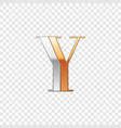 silver and gold font symbol alphabet letter y vector image