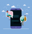 smartphone with couple seated in speech bubble vector image vector image