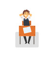 smiling student sitting at desk in classroom side vector image vector image