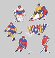stickers hockey player and goalkeeper in vector image vector image