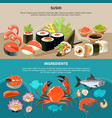 sushi flat banner set vector image vector image
