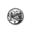 Swiss Chalet Alpine Hiker Decoupage vector image vector image