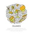 tropical island icon set hand draw cartoon vector image vector image