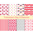 Valentines Day seamless pattern set Hearts vector image vector image