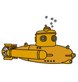 Yellow small submarine vector image vector image