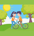 young man riding bike and woman together in the vector image
