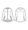 zip-up oversized cotton-fleece hoodie technical vector image vector image