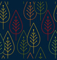 seamless pattern colorful leaves silhouettes on a vector image