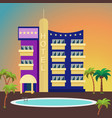 luxurious hotel on a colorful background vector image