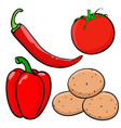 vegetable colored doodle hand drawn sketch vector image