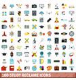 100 study reclame icons set flat style vector image vector image
