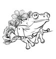 a cartoon frog mascot character pointing vector image