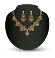 a female necklace and earring of beads and vector image vector image