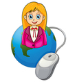 A young businesswoman above the globe vector image vector image