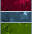 abstract tech geometric polygonal banners design vector image