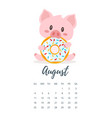 august 2019 year calendar page vector image