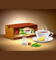 black tea packaging realistic design vector image vector image
