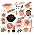 buckwheat noodle set different views asian food vector image vector image