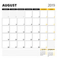 calendar planner for august 2019 stationery vector image vector image
