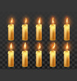 candle fire animation burning orange wax candles vector image