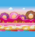 candy land with donuts and pink ocean vector image
