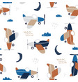 childish seamless pattern with retro aircrafts vector image vector image