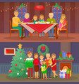 christmas family people dining by table vector image vector image