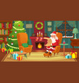 christmas interior santa claus winter holiday vector image