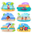 couples in love seaside set vector image vector image