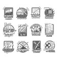 croquet sport icons mallet peg and balls vector image vector image