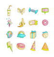 cute funny girl teenager colored icon set fashion vector image vector image