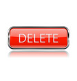 delete button square red button with chrome frame vector image vector image