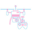 drone with remote control device technologies vector image vector image