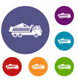 dump track icons set vector image vector image