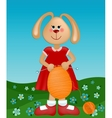Easter greetings card with rabbit knitting the egg vector image vector image
