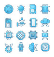 electronics blue icons set vector image