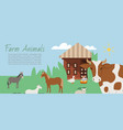 farm animals and rural landscape background vector image