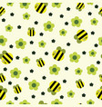 funny bee with flower and stars seamless pattern vector image