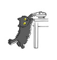 funny grey cat stealing fish off table and vector image