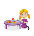 funny smiling cartoon little girl eating at table vector image